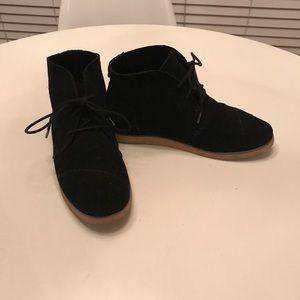 Toms Black Suede Tie Shoes